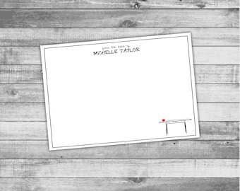 "Personalized EDUCATOR Theme - ""From the Desk of"" (Teacher Desk with Red Apple) - A2 Flat Stationery (5.5x4.25 inches)"