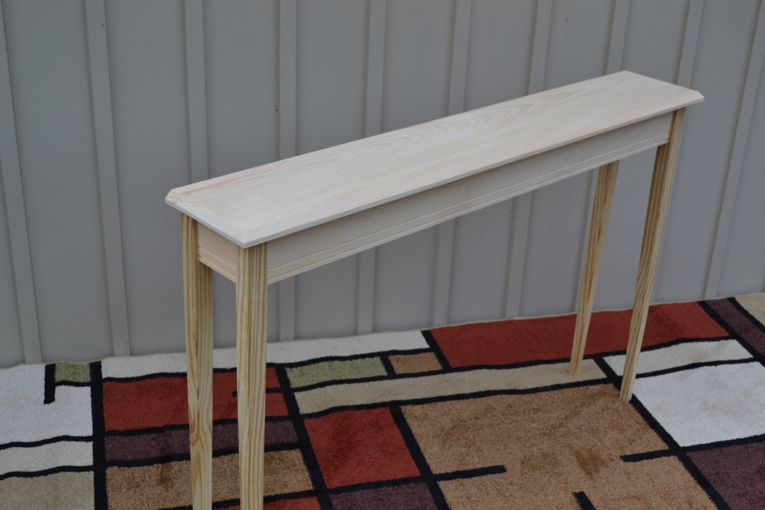 Unfinished 46 narrow console sofa foyer tapered or for Narrow foyer cabinet