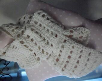Cream Crochet Scarf, Squared