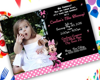 Minnie Mouse Birthday Invitation// Pink Minnie Theme//any age Minnie// Your choice printed or printable