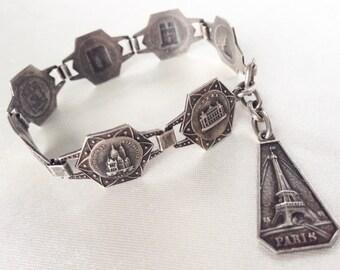 Vintage 30s  Art Deco Paris Souvenir Bracelet,Silver Plated, Eight Segments Paris Monuments Bracelet,French Bohemian,Retro