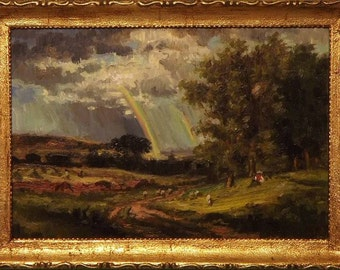A Passing Shower -Original Miniature Oil Painting with Handcrafted Frame