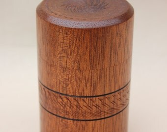Turned wooden utile lidded box