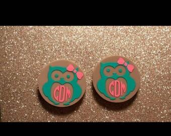 1 set of precut owl monogram s for 16mm earrings,  earring blanks owl design.