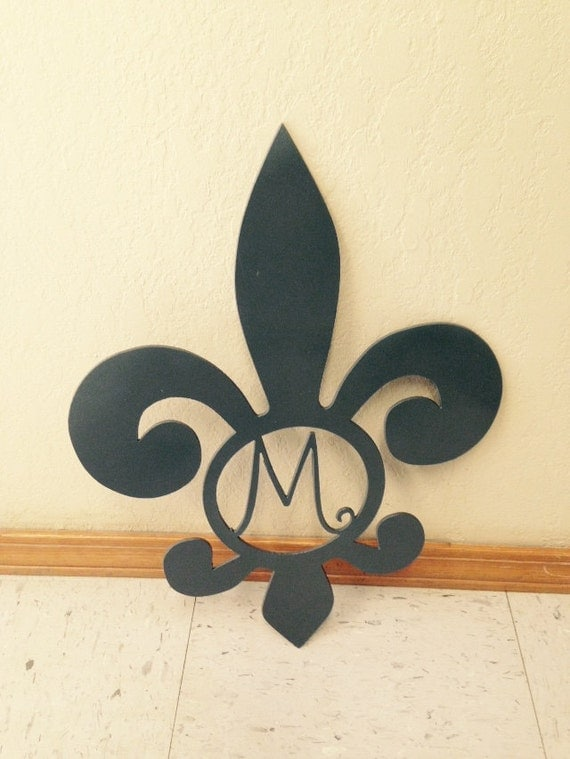 Fleur De Lis With Monogram Letter Home Decor Wall Art Metal