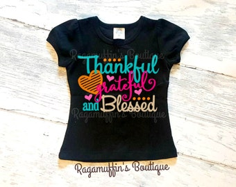 """Shop """"thankful grateful blessed shirt"""" in Girls' Clothing"""