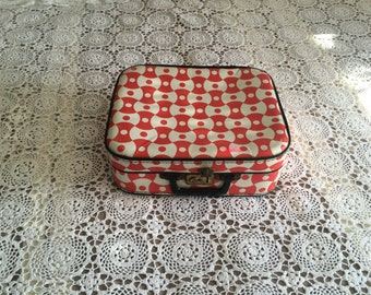 small suitcase red and white vintage