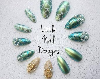 Mermaid stiletto handpainted false nails