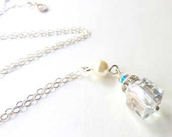Crystal Cube Pendant Necklace,  Rhinestone and Pearl, Clear Crystal and Sterling Silver Necklace, Wedding Jewelry, Bridal