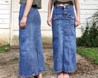 Blue jean maxi skirt | Etsy