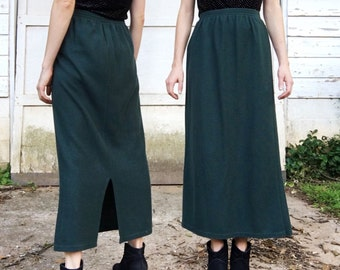 MOVING SALE Vintage 90s Metro 212 High Waisted Dark Green Stretch Elastic Waist Poly Cotton Full Length Long Maxi Skirt S