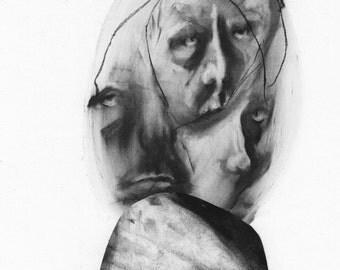 Figurative Charcoal Drawing - Giclee Print -