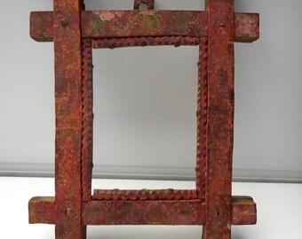 Antique Primitive Rare Hand-carved and Hand Pinted Wooden Picture Frame