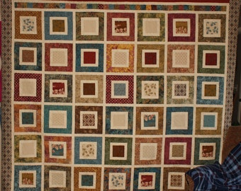 Hopeful Squares/ HANDMADE /Edyta Sitar/Hope Chest fabric/  full size / patchwork quilt