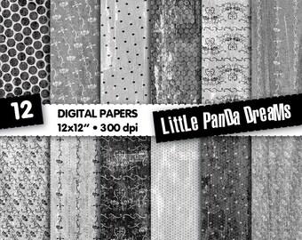 Grey Digital Paper | Design Scrapbook Paper Pack | Black and white paper | Vintage design | 300 dpi | Instant Download | 12 Digital papers