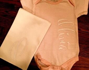 Baby Girl Personalized Name Long-sleeve Onesie- 100% organic (Burts Bees)