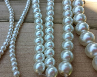 Ivory Glass pearls, multiple sizes, 4mm, 6mm, 8mm, 10mm, 12mm