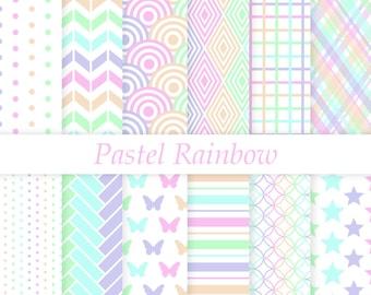 Pastel Rainbow Digital Paper, Scrapbook Paper
