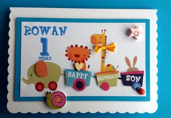 Large Personalised Zoo Train 1st Birthday Card Boy Son – Son 1st Birthday Card