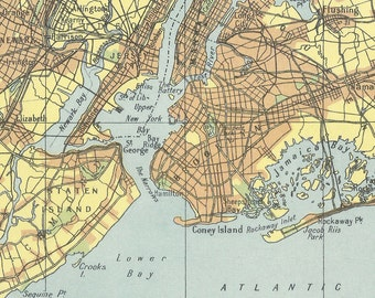 New York City 1940s old maps home decor Vintage Prints old maps rail map