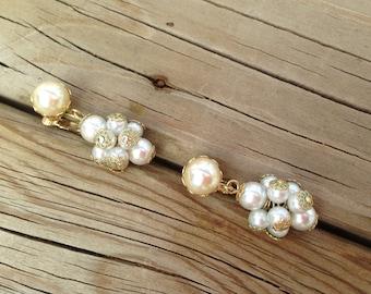 Vintage Faux Pearl Cluster Dangle Drop Earrings 0638