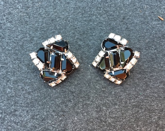 Vintage Black and Clear Rhinestone with SilverEarrings 0673