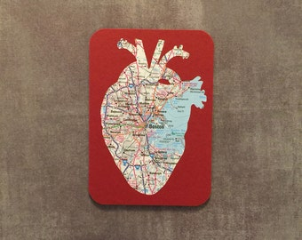 Boston Upcycled Anatomical Heart Map Card & Handmade Envelope A1