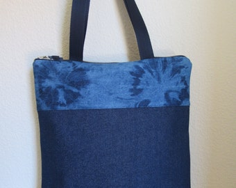 Bag style tote in tejano and tejano faded handmade. Tote bag.