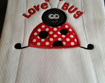 Ladybug burp cloth