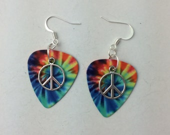 Vivid Tie Dye Guitar Pick earrings with peace charms