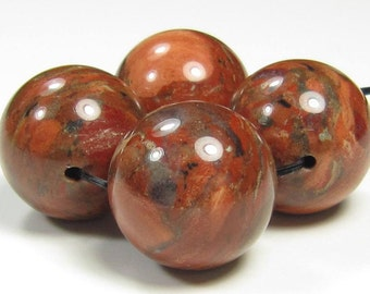 16mm Brecciated Brick Red Jasper Round Bead - 4 beads - #F6077
