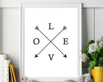 Printable Art Love Typography Print Poster Home Decor Love Sign Hipster Love Print Black and White Art Monochrome Print Digital Download