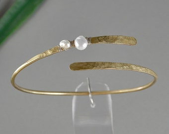 Gold pearl bracelet, hammered thin cuff, stackable brass bangle, dainty jewelry, adjustable bracelet, wrap around cuff, bridesmaid bracelet.