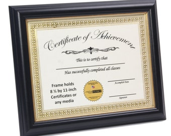 certificate frame black w gold border displays 85 by 11 inch document graduation university diploma frames with stand wall hanger