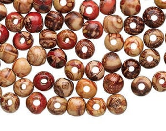 Round Wood Beads, Painted Wood, 8mm, 45 Each, D915