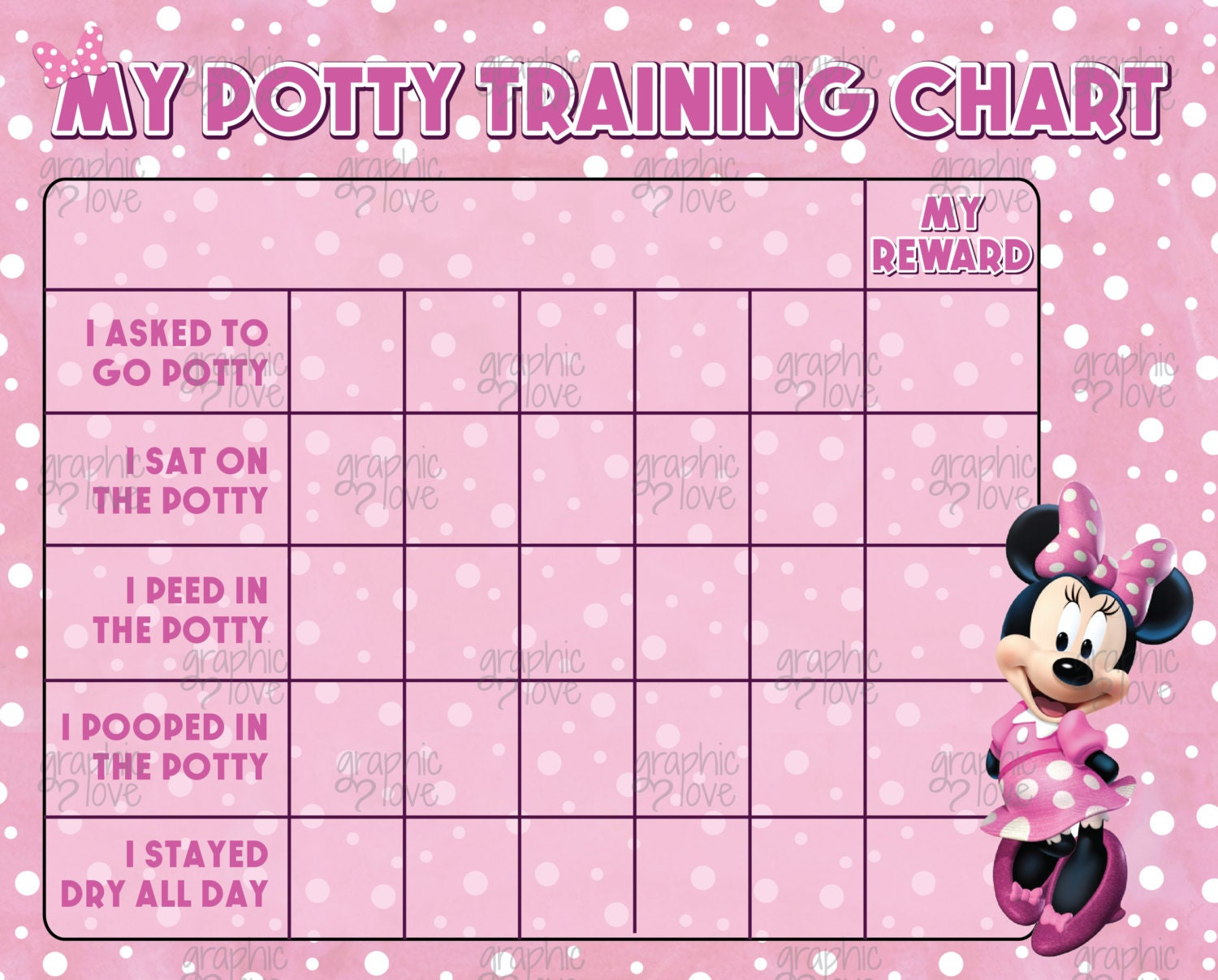 printable minnie mouse pink potty training chart punch cards printable minnie mouse pink potty training chart punch cards digital jpg files instant