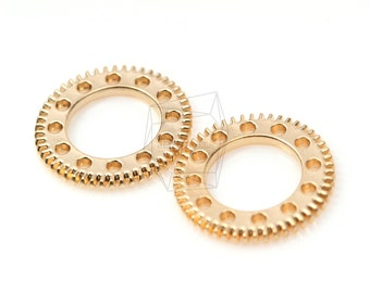 PDT-314-MG/5Pcs-Cogwheel Watch Gear  Pendant/ 25mm x 25mm / Matte Gold Plated over brass