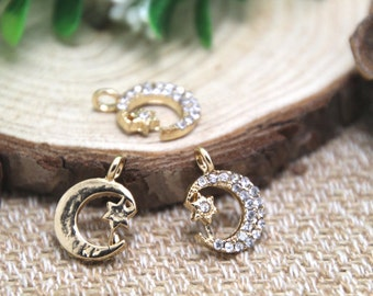 5pcs-- Moon and Star, Rhinestones, Moon charms, gold plated star Crescent Moon charms pendants 12x17mm D1440
