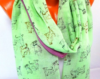 Scarf, Shawl, Wrap, Dog Scarf, Dog Printed Scarves, Shawl with Cute Dog Pattern, infinity Scarf, Lightweight Summer Scarf, Mother's Day Gift