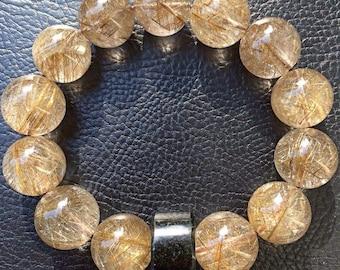 Gold Rutilated Quartz with Black Jade