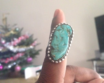 Huge Turquoise Nugget Ring Size 7.5