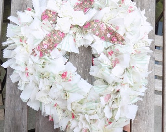 Soft green and pink rose fabric wreath - shabby chic decor - heart rag wreath - English cottage decor - Rustic décor