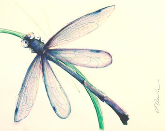 Watercolor dragonfly painting Original dragonfly art watercolor painting Dragonfly illustration Nursery decor animal lover watercolor art