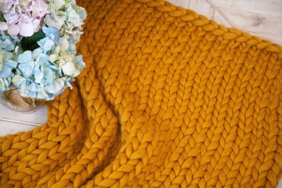 Cozy Hand Knit Throw Chunky Wool Blanket Hand Knitted Gift