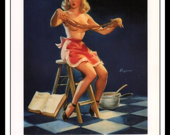 """Gil Elvgren Vintage Pinup Illustration """"Confidentially This Sticks 1950"""" Sexy Pinup Mature Wall Art Deco 1995 Book Print 9 3/4"""" x 14"""""""