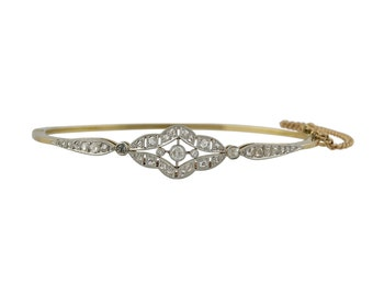 Edwardian Platinum over Gold Diamond Bangle Bracelet