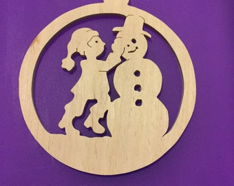 Scroll sawn handmade round child building a snowman wood Christmas tree ornament