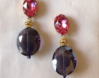 Swarovski crystal earrings with purple Crystal