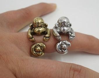 Monkey- Ape- Zoo Animal- Primate Ring- Adjustable Wrap