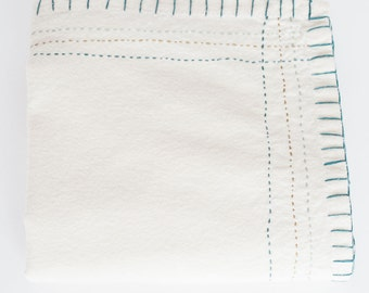 Hand Embroidered Heirloom Baby Blanket or Swaddle #500